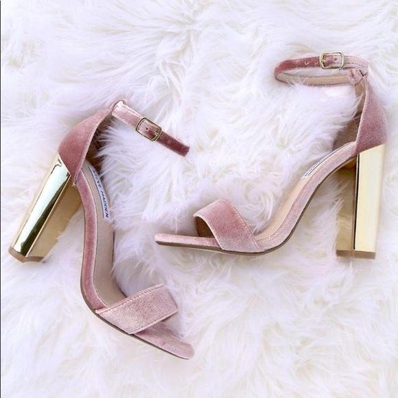 797d70356f8 STEVE MADDEN Carrson Gold Heels in Pink Velvet